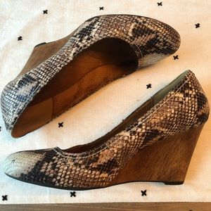 Clarks Leather Snakeskin Wedges